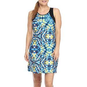 Nanette Lepore Athletic Dress Blue Yellow Sz Large